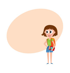 young pretty woman tourist with backpack and vector image vector image