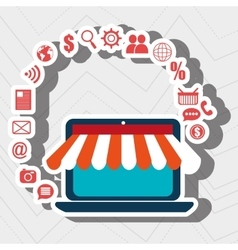 Laptop e-commerce store buy vector