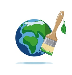 Paint brush and planet earth vector