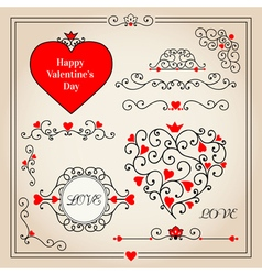 Set with floral hearts and decorative elements vector