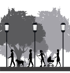 People silhouette walk lifestyle park lamppost vector