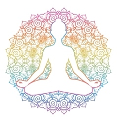 Women silhouette yoga lotus pose padmasana vector