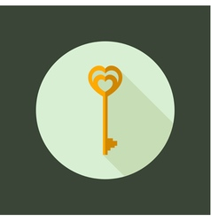 Key circle icon flat design vector