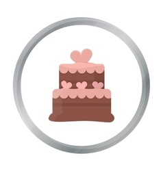 Cake icon in cartoon style for web vector
