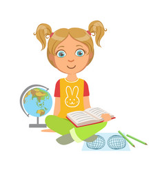 Girl reading a geography book part of kids loving vector