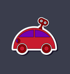 paper sticker on stylish background kids toy car vector image