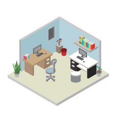 Isometric office workplace vector