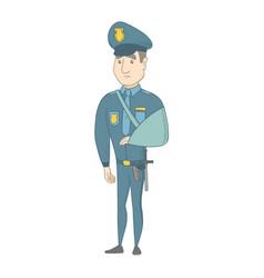 Injured young caucasian policeman with broken arm vector