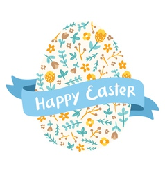 Easter floral egg greetings vector