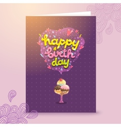 Happy birthday postcard template with ice cream vector