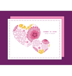 Pink field flowers heart symbol frame pattern vector