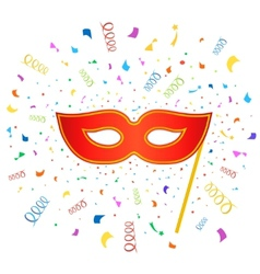 Bright carnival masks with confetti on white vector image