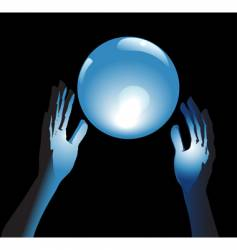 Crystal ball future in hands vector