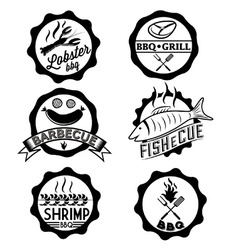 Bbq seafood steak labels icons badges template set vector