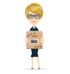 Delivery woman isolated on the white background vector