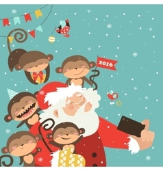 Santa and monkeys take a selfie vector