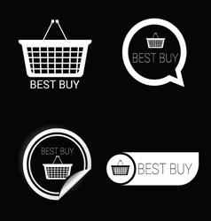 Best buy icon white on black vector