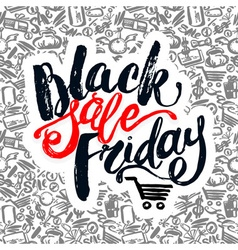 Black friday sale hand lettering banner vector