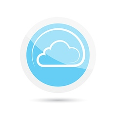 Glossy round icon clouds on a blue background vector