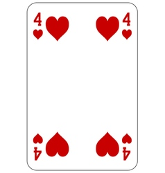 Poker playing card 4 heart vector