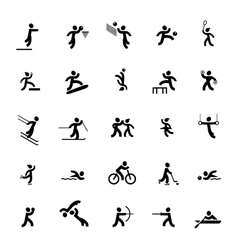 Sports icons set black vector