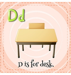 Alphabet D is for desk vector image vector image