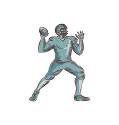 American football qb throwing etching vector