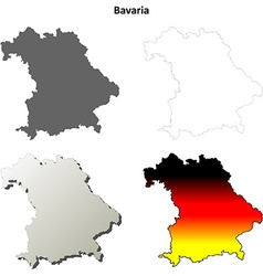 Bavaria outline map set vector