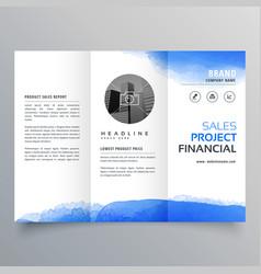 Blue watercolor trifold brochure design template vector