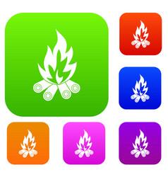 bonfire set color collection vector image