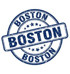 Boston blue grunge round vintage rubber stamp vector