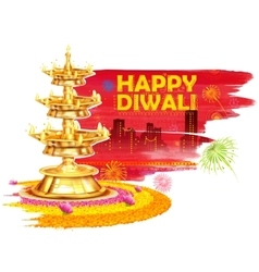 Burning diya on happy diwali holiday watercolor vector