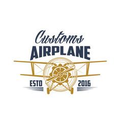 Customs airplane aviation retro icon vector