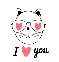 cute hand drawn cat i love vector image vector image