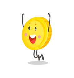 cute happy golden smiling coin humanized character vector image vector image