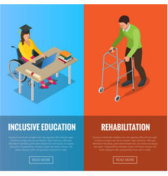 disabled people banners with wheelchair and vector image