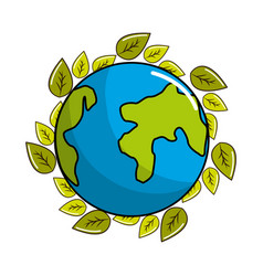Earth planet with natural leaves vector