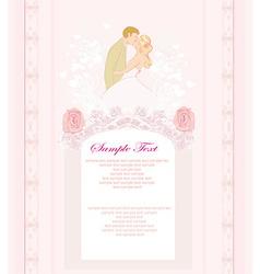 Elegant wedding invitation with kissing wedding vector