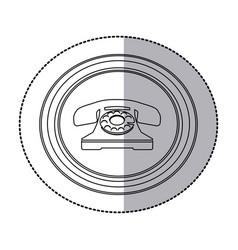 Figure emblem sticker color telephone icon vector