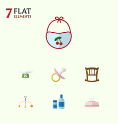 Flat child set of tissue nipple children scales vector