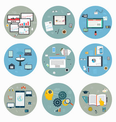 flat icons for web and mobile business strategy vector image