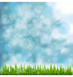 Grass border on natural blue background vector