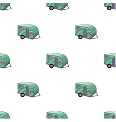 Green caravan icon in cartoon style isolated on vector
