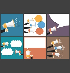 Hand with Megaphone Flat Images Set vector image