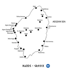 Island of naxos in greece map on white background vector