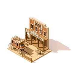 Isometric low poly wild west saloon vector
