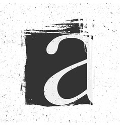Letter a with grunge black paint spot vector