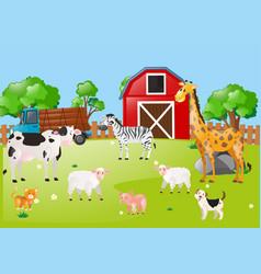 Many animals in the farmyard vector