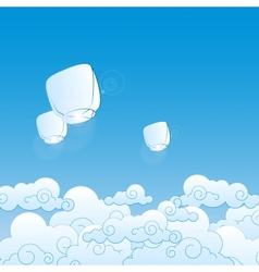 paper lanterns in the sky vector image