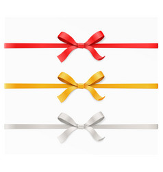 Red gold silver color bow knot and ribbon vector
